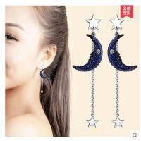 韩版耳钉长款银 耳环气质名媛女款银耳饰月亮饰