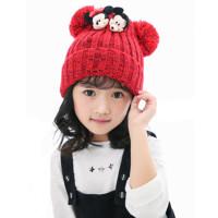 秋冬儿童毛线帽子男女童双球针织帽潮中小学生套头帽子