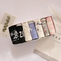 草莓7条礼盒装纯棉卡通少女蕾丝女士内裤中低腰大码星期裤