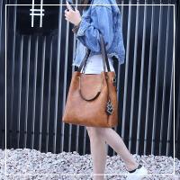 女包单肩包牛皮韩版时尚软皮水桶包大包包手提斜跨