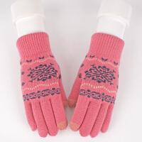 毛线手套女秋冬季时尚韩版可爱学生加绒加厚骑车保暖触屏针织手套