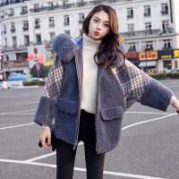 外套 女士羊羔毛连帽加厚毛领短裤外套2020年冬季新款韩版时尚潮流女式休闲洋气女装格子上衣