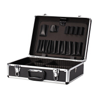 铝合半工箱隔板大号美容化妆箱包跟妆师纹绣手箱子 黑色 带锁配送肩带隔板
