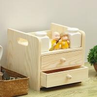 实木办公桌面收纳盒抽屉式卧室储物盒办公室书桌上杂物整理置物架 两抽台收纳盒