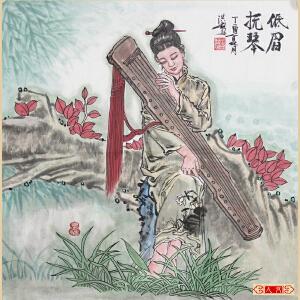 《低眉抚琴》葛红彪 实力派专职画师,陕西人民书画院画家C00ML1357