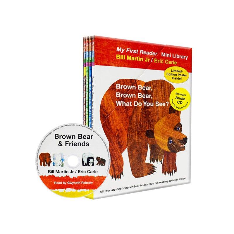 【中商原版】Brown Bear What Do You See棕色的熊4册套装 CD 英文原版 儿童绘本 畅销儿童图书 儿童读物Eric Carle艾瑞卡尔爷爷 棕熊故事 经典儿童启蒙绘本 附CD