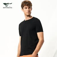 七匹狼短袖线衫 年夏季新品青年男士时尚纯棉圆领毛衣短袖T恤 001(黑色) 170/88A/L