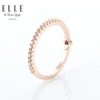 ELLE戒指 简约单排925银红宝石镀金饰品 礼物送女友 新品