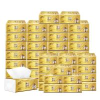 清风 原木纯品金装150抽取式面巾纸纸巾3层抽纸餐巾纸3包/提16提/箱