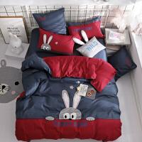 秋冬 卡通绣花兔子儿童床品四件套棉 男孩样板房床上用品三件套定制 baby兔