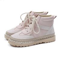 马丁靴女秋冬季2018新款平底棉鞋百搭加绒学生原宿风短靴女士靴子 粉色 预售10天