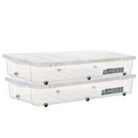 禧天龙大号床底整理箱2个装收纳箱防潮收纳箱床下儿童玩具储物箱