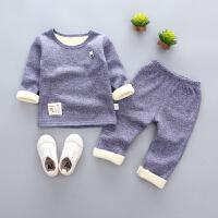 宝宝保暖内衣套装秋冬加绒1男童冬装2加厚3秋衣4岁女婴幼儿童睡衣 藏蓝 竖形胸标保暖套
