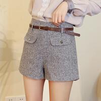 高腰短裤女18春季新款女装时尚双袋盖扣子装饰显瘦美腿棉麻阔腿裤