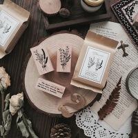 灵感告急 flowers英文花束木质印章 手帐复古diy日记装饰植物印章