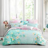 LOVO家纺 全棉纯棉印花四件套 田园床单被套 阳光下的花朵