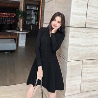 连衣裙 女士高腰西装领长袖连衣裙2020年秋季新款韩版时尚潮流女装修身性感女装A字裙