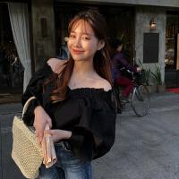 韩国小姐姐chic宽松灯笼袖V领泡泡袖上衣