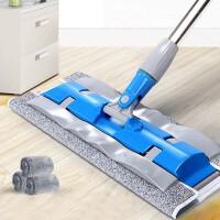 大�免手洗平板拖把家用瓷�u旋�D拖把木地板地拖布墩布-�{色��K布