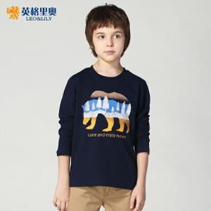 英格里奥童装秋季新款青少年男童纯棉长袖T恤儿童卡通圆领打底衫LLB3606