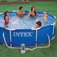INTEX管架水池 家庭游泳池支架水池别墅游泳池 大型水池