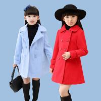 女童毛呢外套秋款韩版童装儿童呢子大衣女孩夹棉妮子衣