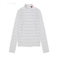 新款韩版刺绣爱心高领弹力套头T恤长袖女百搭条纹打底衫上衣