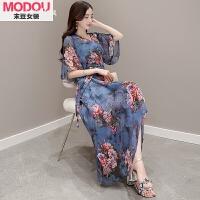 夏季连衣裙女装新款修身沙滩裙韩版时尚印花雪纺波西米亚长裙