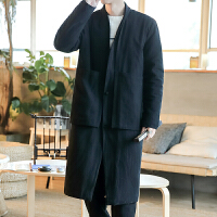 中国风男装冬季加厚棉衣复古风道袍道士服装中式长衫民国佛系长袍 黑色