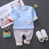 新生婴儿保暖衣套装加厚加绒宝宝幼儿童内衣秋衣长袖秋冬季0-1岁2