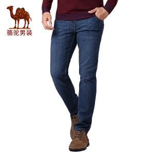 骆驼男装 秋季新款时尚商务休闲合体直筒牛仔裤拉链长裤子男
