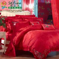 富安娜出品 圣之花床品棉粘提花四件套婚庆大红套件 提花婚庆四件套 喜结连理 1.8米床适用