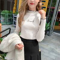 MG小象毛衣女2019新款韩版修身显瘦针织衫花边领气质秋装休闲上衣