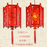 中式阳台灯笼吊灯新年红色仿古宫灯中国风古风羊皮木艺LED乔迁
