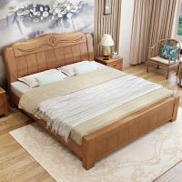 实木床1.8米双人床中式1.5米现代简约主卧经济型婚床高箱储物家具