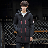 冬季新品修身连帽男士羽绒服时尚韩版中长款羽绒衣男装外套