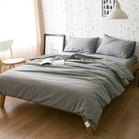 纯色床上用品1.5m纯棉磨毛床单被套4三件套1.8米床笠全棉四件套