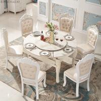 欧式餐桌椅组合 大理石实木雕花 小户型可伸缩折叠方圆两用餐桌椅
