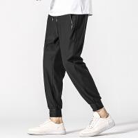 冰丝长裤男夏季超薄款潮流宽松休闲裤男拉链速干加肥加大码运动裤