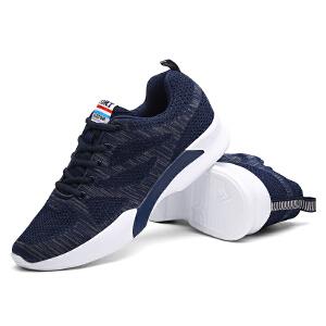 新款男鞋厚底运动鞋男士休闲潮秋网面透气秋季飞织跑步鞋子
