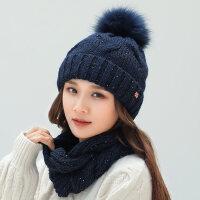 女士百搭甜美可爱针织帽子 新款帽子女围脖一体毛线帽围巾保暖护耳帽