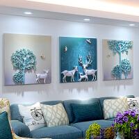 沙发背景墙装饰画三联画客厅北欧挂画卧室壁画无框画3D立体玄关装饰画浮雕画 尺寸:80*80cm*3片 25mm厚板+2