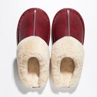 皮拖鞋男冬季居家室内棉拖鞋女防水冬皮月子鞋厚底防滑保暖情侣生活日用