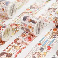 多加 特油和纸胶带 小麻薯系列 清新可爱人物手帐素材离型贴13款