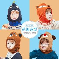 kk树儿童帽子秋冬季男童女童围脖护耳一体围巾针织婴幼儿宝宝防风保暖