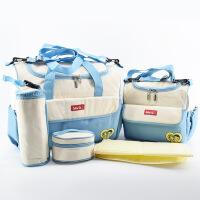 新款多功能大容量妈咪包五件套包时尚大小号孕妇包 一件 天蓝色