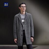 HLA/海澜之家花纹西装领针织大衣保暖大衣外套男