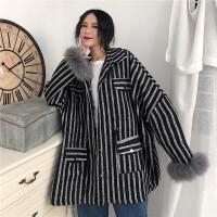 2018新款流行呢子大衣女秋冬韩版中长款加厚夹棉长袖毛呢外套女潮 均码