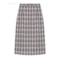 格子半身裙2018春季新款女韩版复古百搭高腰显瘦中长裙开叉一步裙