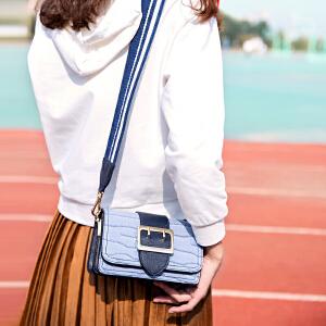 TOUTOU2017冬季新款韩版包包女鳄鱼纹宽肩带皮带扣撞色chic小方包